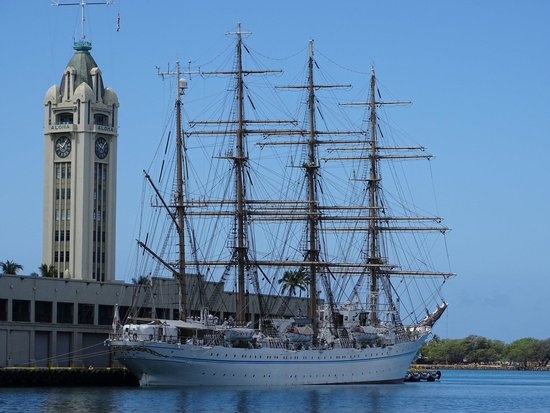 Aloha Tower, with Japanese Tall Ship in Honolulu Harbor