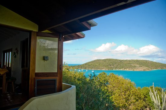 Sandy Ground Estates : The view from the balcony looking towards Little Jost Van Dyke, Diamond View Villa