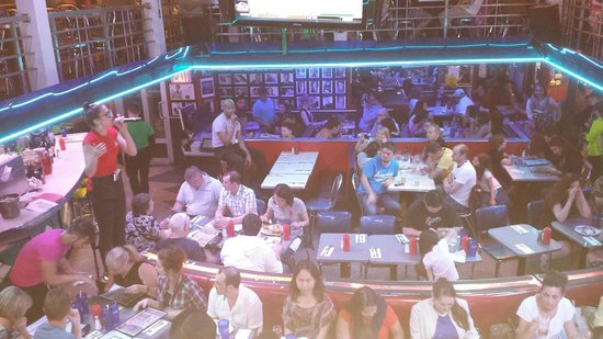 Ellen's Stardust Diner : View from second floor as server sings to diners.