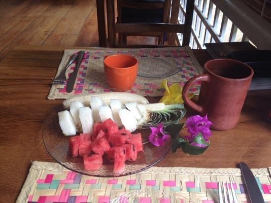 La Posada Azul: Fruit and coffee served before breakfast