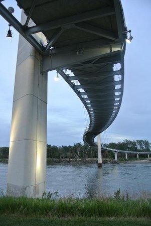 Bob Kerrey Pedestrian Bridge : walking under the bridge