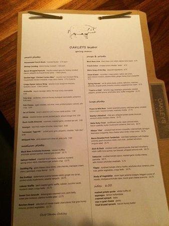 OAKLEY'S Bistro: this week's menu