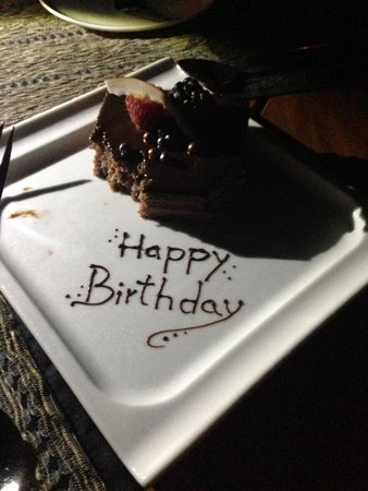 COMO Parrot Cay, Turks and Caicos: Birthday cake from the hotel