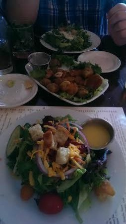 The Bistro at Just Baked: at top cesar, deep fried brussel sprouts and field greens salad