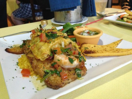 Wacky Wahoo's: lobster ravioli and grouper