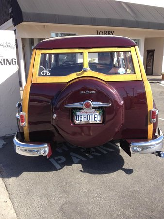 Ocean Beach Hotel: Back of the Woody, loved the plate, and the Woody Parking sign
