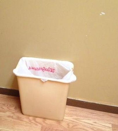Whitetail Inn: Trash can liners are recycled and don't fit.