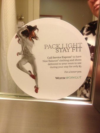 The Westin Pasadena: Workout Clothing available for use $5
