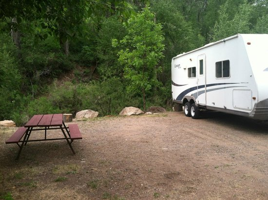 Lightner Creek Campground: backing up to the creek at the campsite