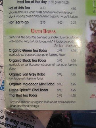 Boba Menu Picture Of Urth Caffe Pasadena Tripadvisor