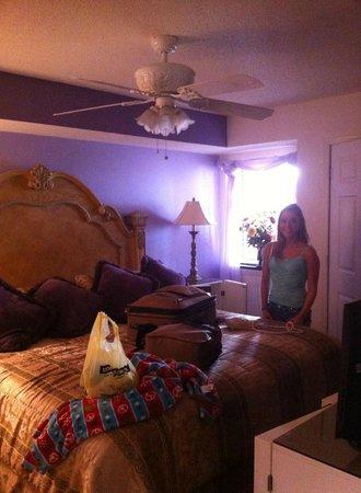South Shore Villas: Large King bed in bedroom. Bathroom in hallway. No room access to bathroom
