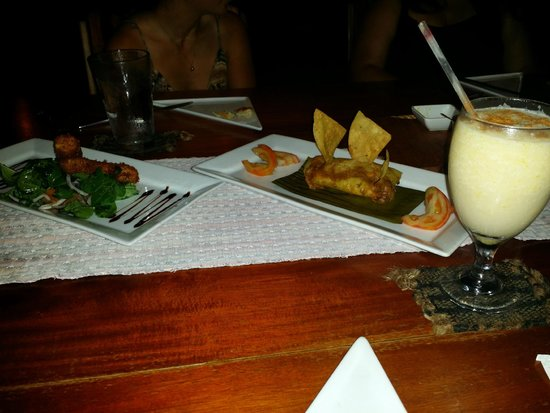 Ka'ana Resort : Excellent food - salad, tamal and corn colada