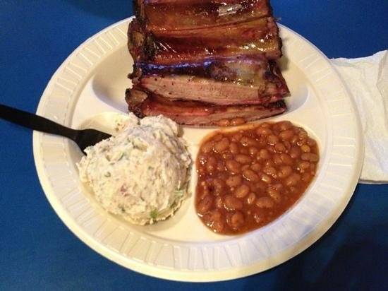 Pig Out Inn Barbeque : My plate: ribs, beans and THE BEST POTATO SALAD (hint of garlic)!