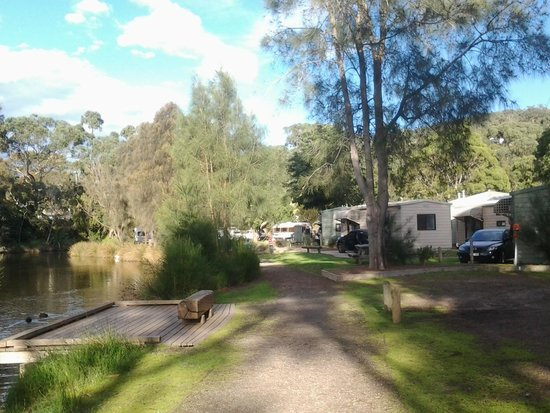 Lorne Foreshore Caravan Park: view of the estuary and cabins