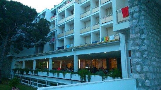 Hotel Adria: vue côté pelouse, l'endroit à choisir pour dormir tranquille