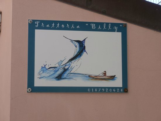 Trattoria Dal Billy: Signage - plus a pirates flag you will see as you walk up the street.