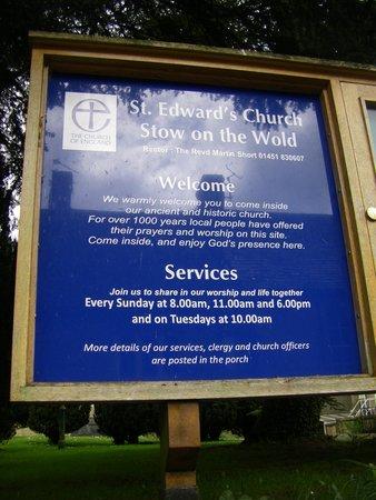 St. Edward's Church: Welcome sign at St. Edward's.