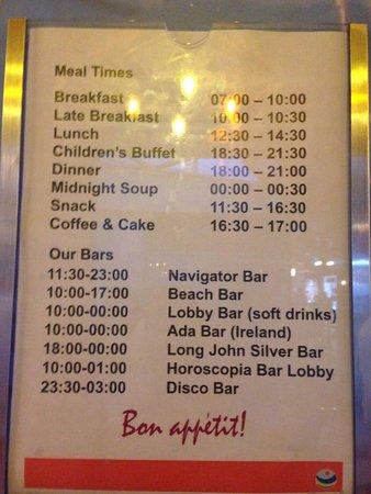 Pegasos World Hotel: Restaurant times