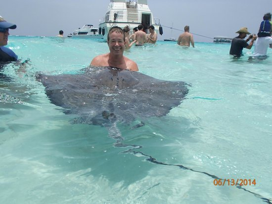 Moby Dick Tours : My husband holding a stingray