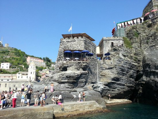 Belforte as seen from the the water is the one with blue umberellas. The terrace is directly abo
