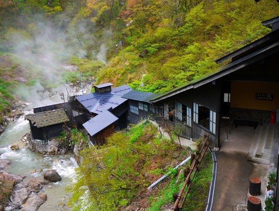 Abe Ryokan: 露天風呂へと続く通路