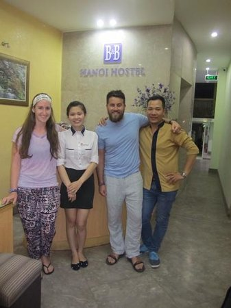 B&B Hanoi Hotel : Us with the wonderful Anna and luggage dude