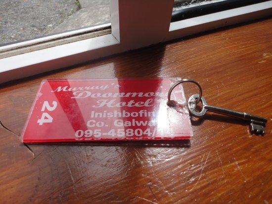 Doonmore Hotel: Old school key.  Love it!