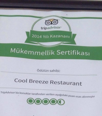 Cool Breeze Restaurant: Food ,service ,ambiance always the best .well done sehmus and all your team