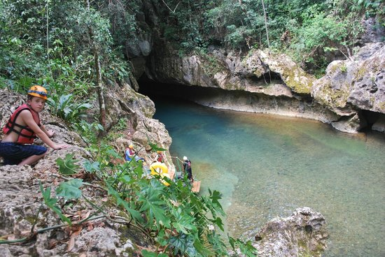 Cave Tubing with Vitalino Reyes: The opening to the first cave