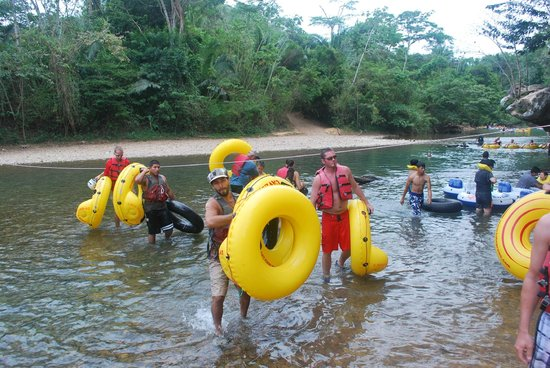 Cave Tubing with Vitalino Reyes: Exiting the river after the adventure