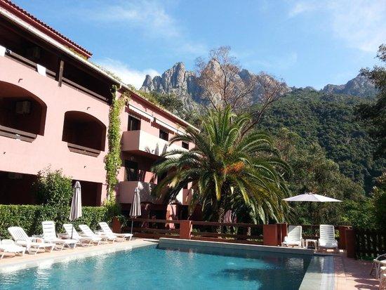 Hotel Corsica : La grande piscine avec les calanche de Piana en arrière-plan