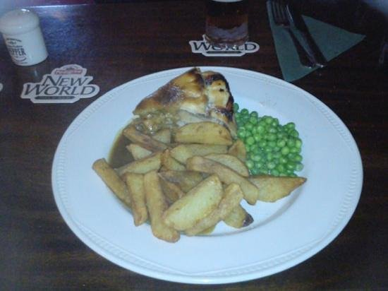 The Horse and Farrier Inn: Pork and apple pie, chips and peas.