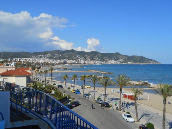 Hotel Terramar: View from our room back along the front to Sitges town.