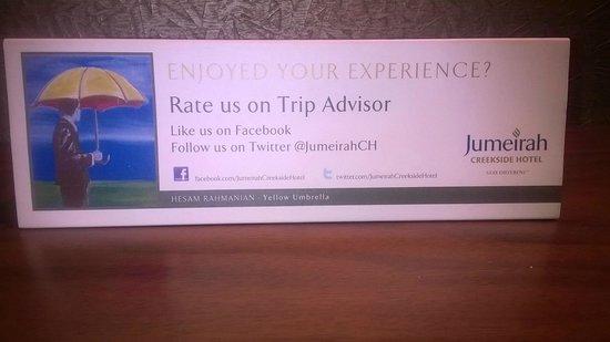 Jumeirah Creekside Hotel: Review reminder card
