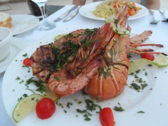 Reef Oasis Beach Resort : lobster and jumbo prawns