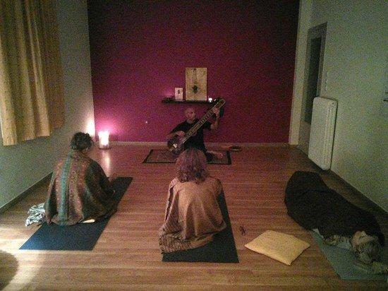 Ashtanga Yoga Crete: Nektarios while playing the sitar