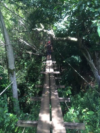 Outfitters Kauai: Crossing the suspension bridge