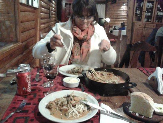 Isabel - Cocina al Disco: Marisco al disco con tallarines y crema, riquísimo
