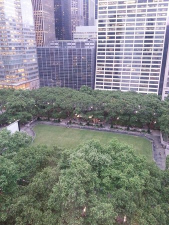 The Bryant Park Hotel: Bryant Park looking North. Showing outdoor movie screen in park (west side of park))