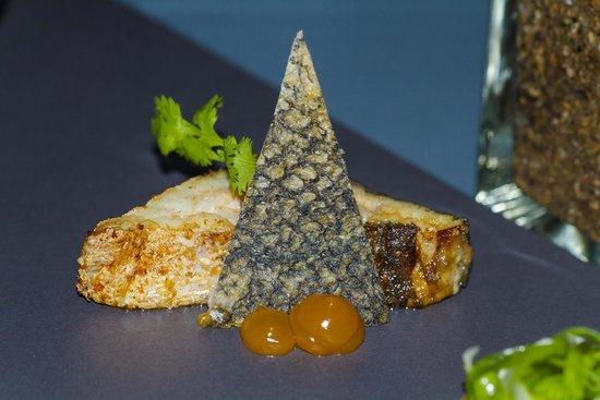 Twisted Thai : Yum Talay  Marble with crispy Sea Bass Skin