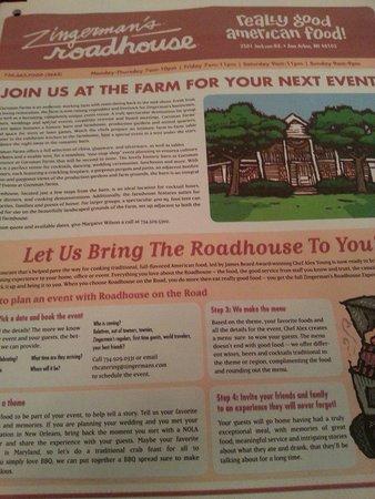 Zingerman's Roadhouse: News paper menu