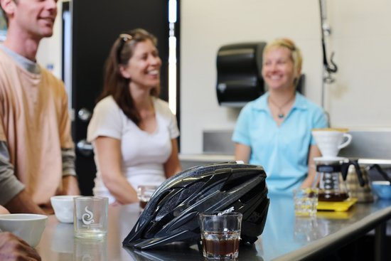 The Pedaler Victoria By Bike: Enjoying coffee humour