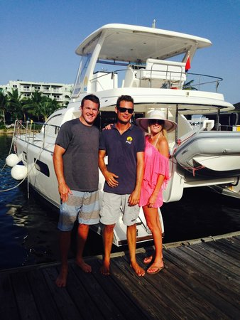 Private Yacht Charter SXM - Day Trips : Us with our Captain, Emmanuel