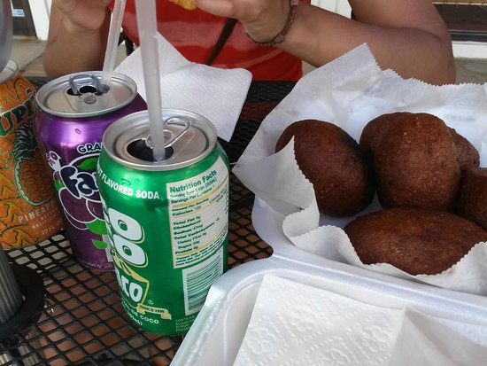 Sofrito Mama's: Alcapurrias fritters with Coco Rico, a classic.