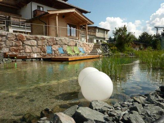 Berghotel Pointenhof: Badeteich mit Sauna  -  diese mit Aussicht auf das Kitzsteinhorn