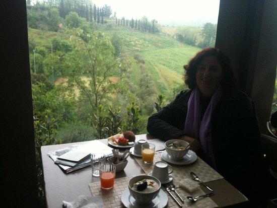 Salvadonica - Borgo Agrituristico del Chianti : Café da manhã com vista ao fundo, horta, flores e montes!