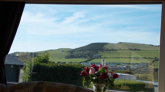Clarach Bay Holiday Village: view from the lounge in the caravan