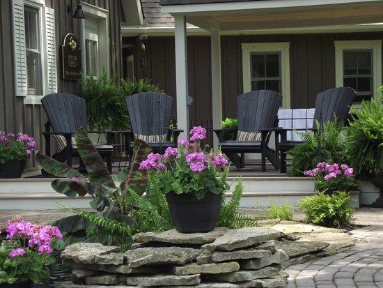 Historic Davy House B&B Inn: Muskoka Chairs overlooking the Courtyard Koi Pond and more.
