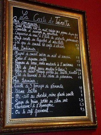 Chez Toinette: Menu