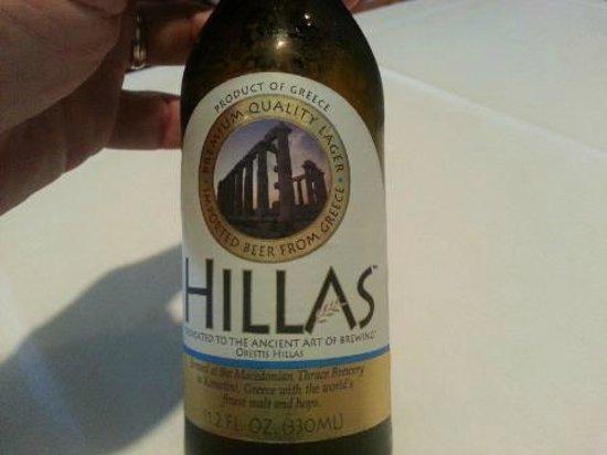 Greek Islands Restaurant West: HILLAS beer at Greek Islands